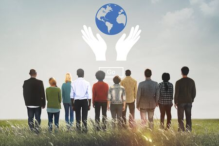 protect earth: Global Prosperity Protect Earth Care Concept Stock Photo