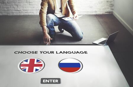 lingo: Russian English Communication Language Concept Stock Photo