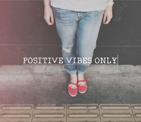 positivity: Positivity Positive Vibes Only Attitude Inspire Concept Stock Photo