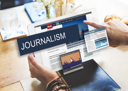 digital content: Media Journalism Global Daily News Content Concept Stock Photo