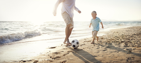 Football Beach Bonding Father Son Togetherness Concept Reklamní fotografie