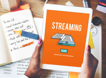 broadcast: Streaming Live Broadcast Media Internet Online Networking Concept Stock Photo