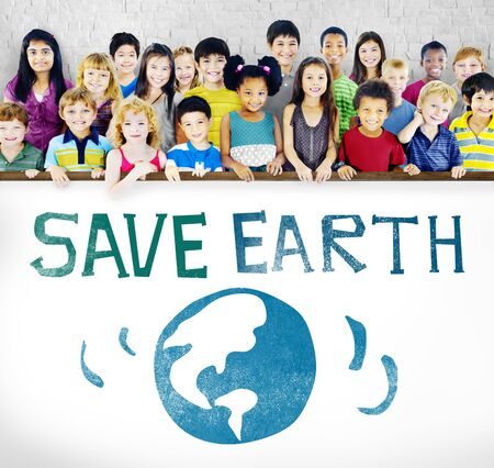 green little planet earth: Protect Save Earth Nature Planet Concept Stock Photo