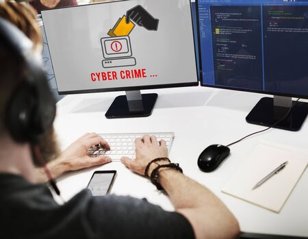 Cyber Attack Crime Fraud Phishing Hacker Security System Concept Фото со стока