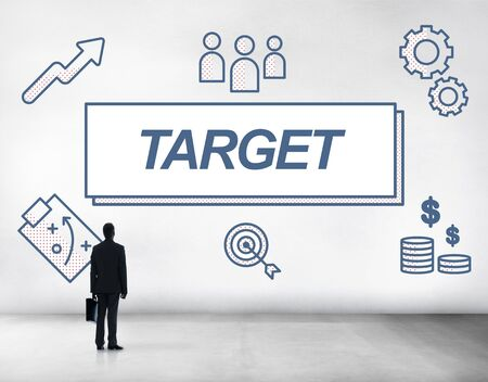 reached: Target Accomplished Reached Goals Graphic Concept Stock Photo