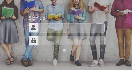 young adults: Sign Up Log In Membership Access Network Security Concept Stock Photo