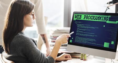 Concepto de la tecnología Web Programación de desarrollo de software Foto de archivo