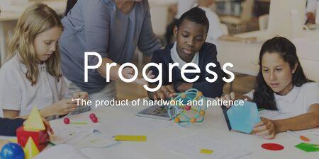 paciencia: Progress Product Hardwork Patience Graphic Concept Foto de archivo
