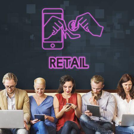 merchandiser: Retail Sell Merchandiser Shopping Pay Concept Stock Photo