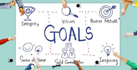 man business oriented: Goals Aim Aspiration Believe Inspiration Target Concept