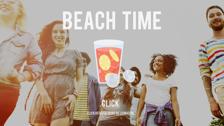 Multi-ethnic group with beach time concept