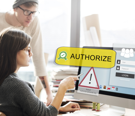 People at work with authorize concept