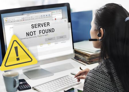 customer support: Server Not Found Error Inaccessible Concept Stock Photo
