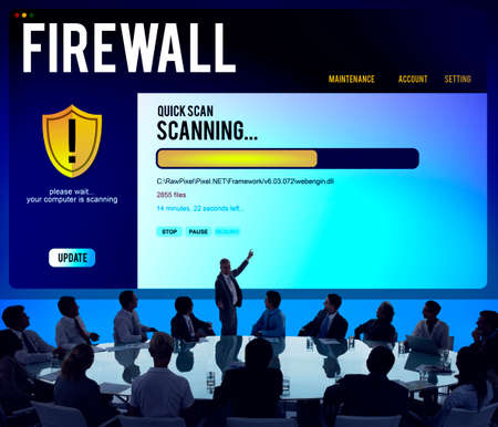 malware: Data File Protection Firewall Malware Removal Concept