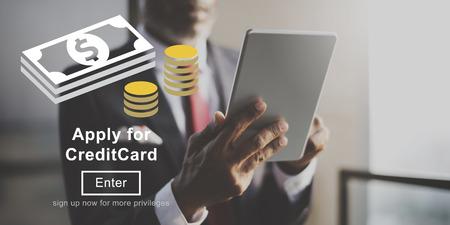 social history: Apply Credit Card Financial Graphics Concept