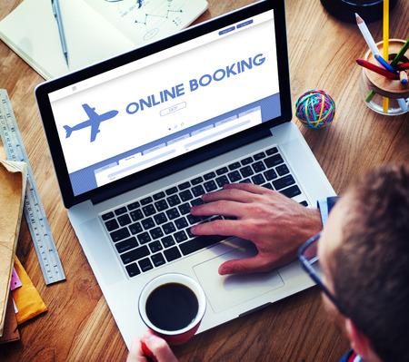 Online Booking Traveling Plane Flight Concept