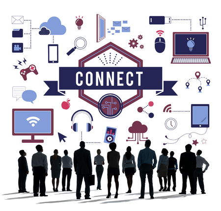 group icon: Big Data Connect Technology Gadget Concept