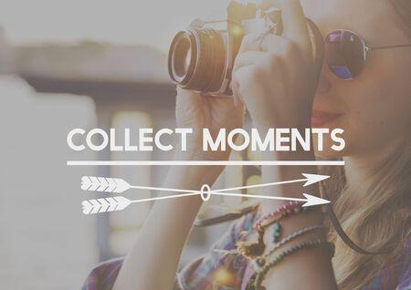 juntar: Recoger capturar momentos no cosas concepto de la experiencia Foto de archivo