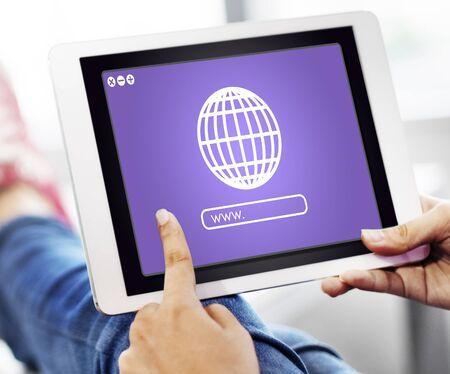 Globe Icon Internet Online Web Graphic Concept Stock Photo