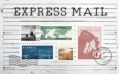 Airmail Mail Postcard Letter Stamp Concept Stock Photo