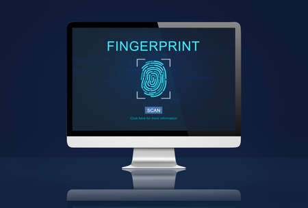 odcisk kciuka: Fingerprint Identity Thumbprint Id Concept Zdjęcie Seryjne