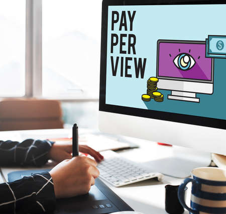 monocular: Pay-Per-View Content Magnifier Observation Concept Stock Photo