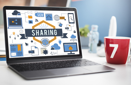 Laptop with sharing concept Stock Photo