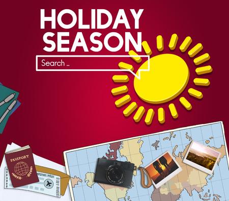 Map with holiday season concept Banco de Imagens