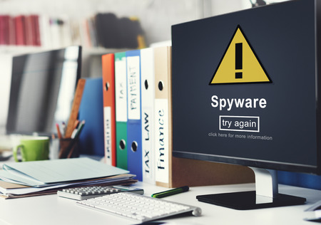 spam: Spyware Computer Hacker Spam Phishing Malware Concept Stock Photo