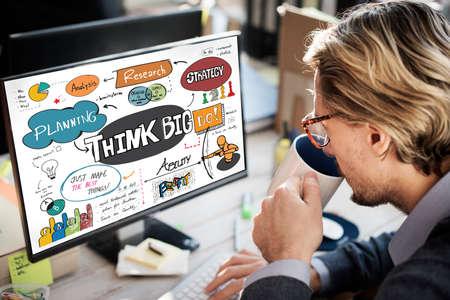 optimismo: Think Big optimismo positivo Concepto Idea Intención