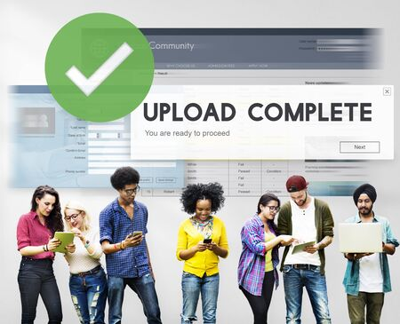 complete: Upload Complete Data Uploading Submit Technology Concept