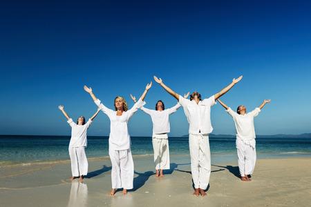 yoga beach: People Yoga Beach Nature Peaceful Concept
