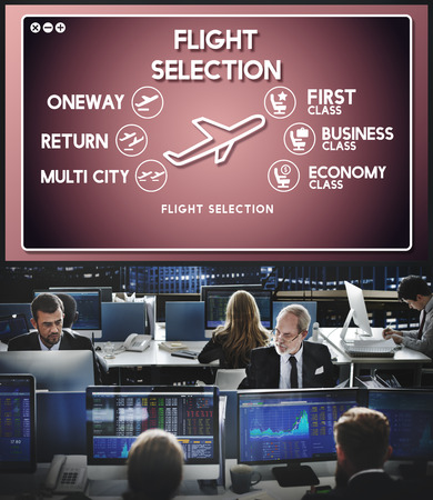 hectic: Flight Information Selection Tourism Transport Concept Stock Photo