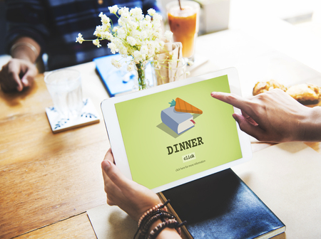 guidebook: Dinner Cook Book Meal Preparation Concept Stock Photo