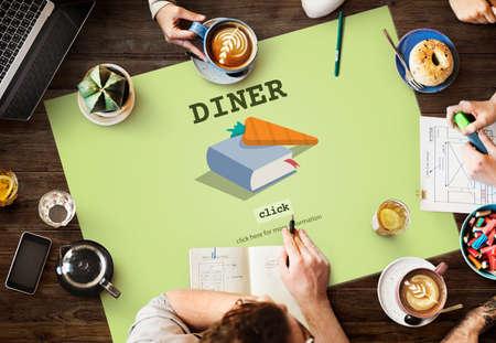 diner: Diner Cook Book Meal Preparation Concept