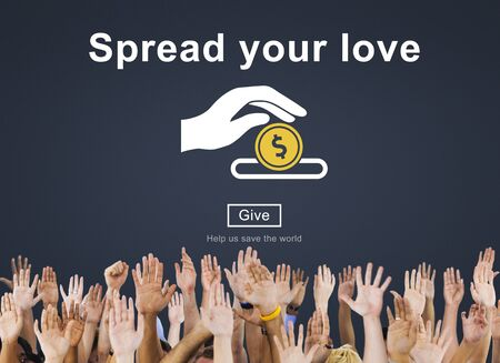 raise your hand: Spread Your Love Helping Hands Donate Concept Stock Photo