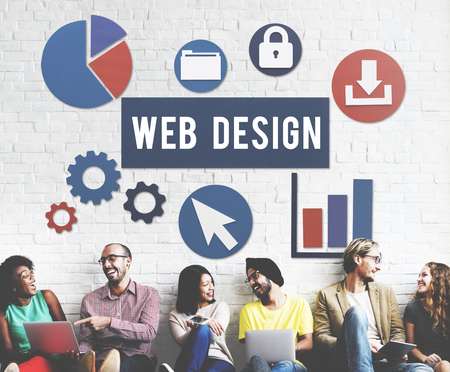 Multi-ethnic group with web design concept