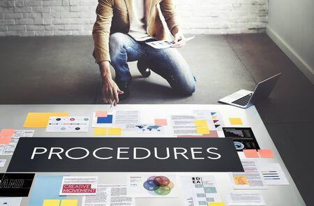 Procedimientos Etapas del proceso Concepto del Sistema Foto de archivo