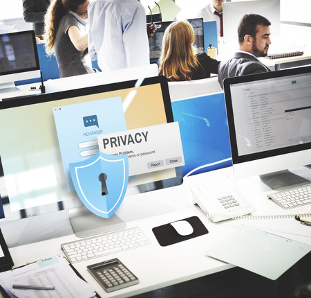 computers office: Privacy Confidential Protection Security Solitude Concept
