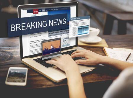 breaking news: Breaking News Media Announcement Social Concept Stock Photo
