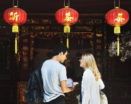 touristic: Young Touristic Couple Vacation Concept