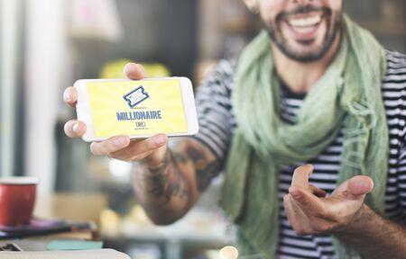 millonario: Concepto Premio Logro de negocios millonario de lujo