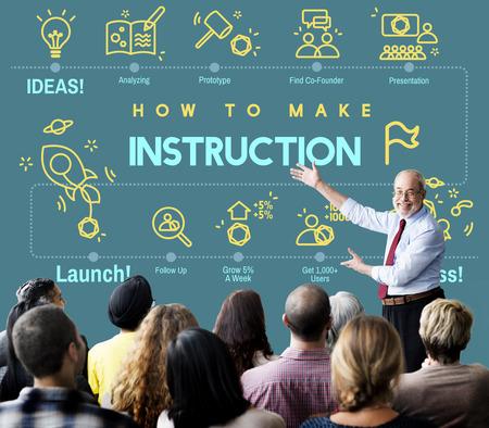 guidebook: Instruction Document Guidebook Handbook Help Concept Stock Photo