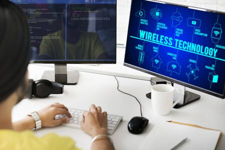 drones: Wireless Technology Connected Drones Technology Concept