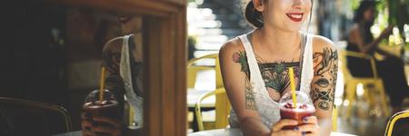 coffeeshop: Woman Sitting Coffeeshop Relaxation Concept Stock Photo