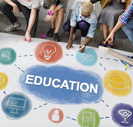 literacy instruction: Brainstorm Knowledge Creative Imagine Think Concept Stock Photo