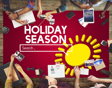People in discussion with holiday season internet search Stock Photo