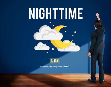 midnight: Nighttime Bright Dark Evening Midnight Moon Concept