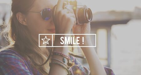 smile please: Smile Attrative Beautiful Cheerful Happy Positive Concept Stock Photo