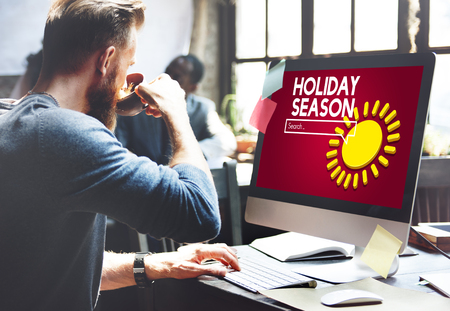 Man at work with holiday season search